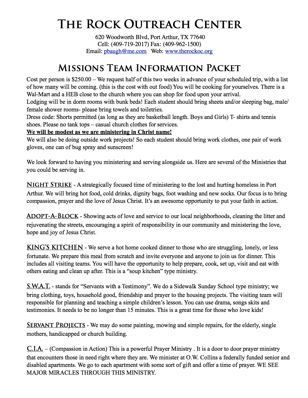 Missions Team Information Packet 3
